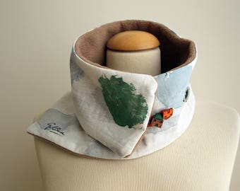 Hand painted Linen & Cotton. Neck Warmer-Fleece. 31x4.7 in. Ideas for her. Scarf neck warmer. Handpainted.Brithday gift