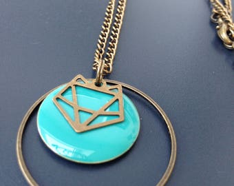 bronze circle necklace turquoise origami Fox