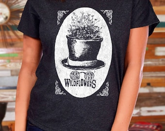 Tom Petty Shirt for Women, You belong among the wildflowers, Graphic tee, Ladies flowy shirt, Triblend Tshirt, Screen Print Tee Shirt
