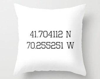 Latitude Longitude Pillow Cover, Custom Pillow Cover, Personalized Coordinates Pillow, Black and white pillow, wedding gift, engagement gift