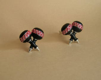 Vintage Black and Red Maracas Cuff Links by Oxford