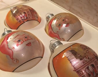 Pyramid Brand Vintage Christmas Ornaments with Santa Claus