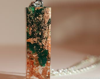 Green Resin Pendant with Gold Flakes