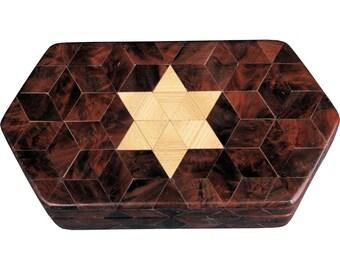 Small Walnut Burl Hexagon Box