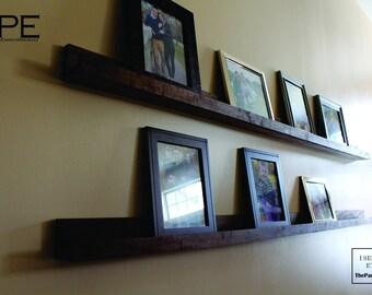 Wall Hanging Picture Shelf. Book Shelf Ledger Wall Decor-Walnut-Artwork Shelf, Book Shelf, Shelf Ledge, Picture ledge Shelf, Floating Shelf