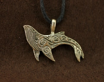 Humpback Whale bronze pendant necklace fantasy