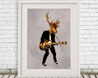 Rocker Deer Print,  Antler, Stag, Deer Art, Deer Art Print, Deer Artwork, Wall Decor, Wall Art, Deer Wall Hanging, Gift For Men, Rock