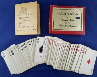 Canasta Playing Cards with Rules for Play--Boxed Set 1950