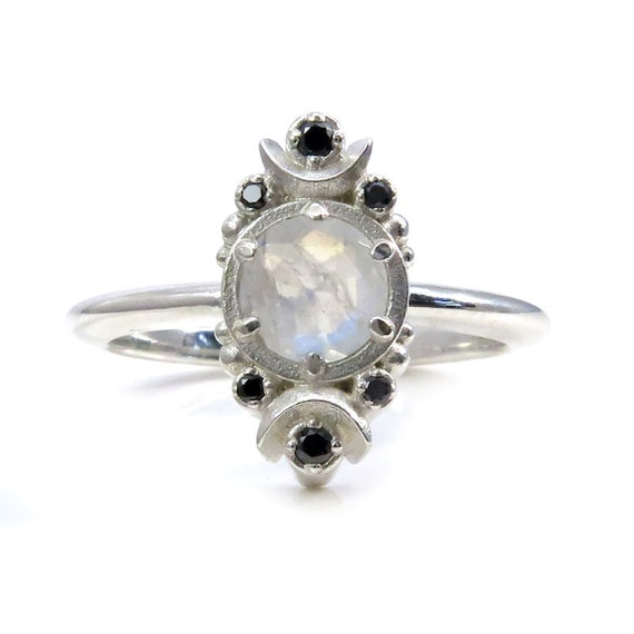 Rainbow Moonstone and Black Diamond Crescent Moon Engagement Ring - Sterling Silver