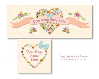 Floral Heart Facebook Cover Photo, Facebook Business Timeline Set, Facebook Timeline, Facebook Profile, Facebook Image Set, Digital Files