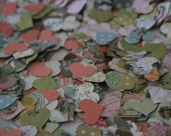 Romantic Vintage Heart Scatters - Wedding Table Decorations - Heart Confetti