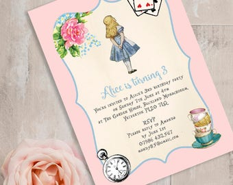 Personalised Alice in Wonderland Themed  Kids Party Invitation Cards- Pink & Blue