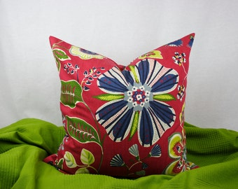 Red, Navy, Blue and Green Floral Decorative Cotton Pillow Cover, Multiple Sizes, 20 x 20 in. Shown, Throw Pillow, Toss Pillow, Accent Pillow