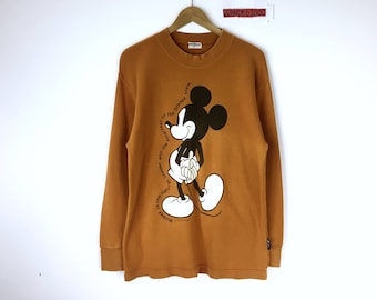 Rare!!! Vintage 80's 90's Mickey Mouse Sweatshirt Pullover Jumper Sweater Character Fashions Made in Japan