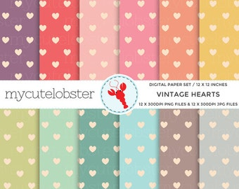 Vintage Hearts Digital Paper - patterned paper pack, hearts, vintage, assorted paper - personal use, small commercial use, instant download