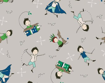 Greatest Adventure Main Gray by Riley Blake Designs - Super hero Cape Boy - Quilting Cotton Fabric - choose your cut