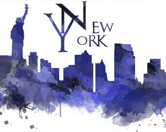 New York skyline print-New York city-digital download-New York USA cityscape-printable art-home decor-gift for-office decor-modern wall art