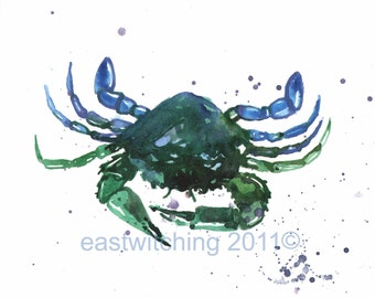 CRAB PRINT, blue green decor, watercolor crab, for the sailor