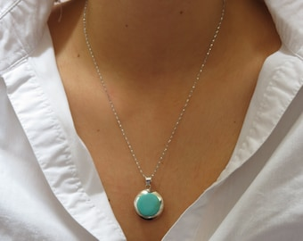 Double Sided Pendant, Turqoise Pendant, Shell Pendant, Natural Shell Pendant, Turquoise Silver, Shell Silver Two Sided, Beach Pendant, 925