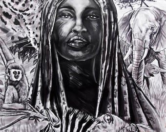 Africa felt on a2 paper 60 x 42 cm