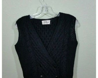 Vintage Crocheted Vest, Crop Vest, double breasted, by Sheleen S