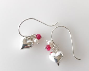 Valentine's Day Gift, Sterling Silver Heart Dangle Earrings, Silver and Ruby Drop Earrings, Gift for Women, Galentine Gift for Girlfriend