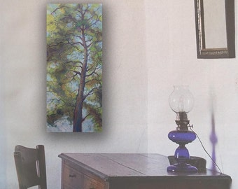 "Narrow Canvas Original Painting ""Reaching Pine Trunk"" on Canvas 30"" inches"