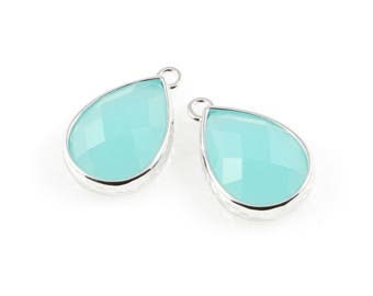 2pcs Ocean Blue Teardrop Glass Charm in Rhodium, Framed Drop Glass Gem / Teardrop / Gems / Blue / 11.5mm x 18.5mm / GOBRH-037-P