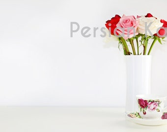 Styled Desktop Stock Photography Image roses tea cup hot pink, pink, red, white Web Design Background, Product Photography, Header Image