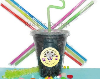 Dog Puppy Cups, Paw Cups, Kids Birthday Party Cups, 20 Cups, Animal Kids Party Cups, Straws and Lids, 12 Ounce Cups
