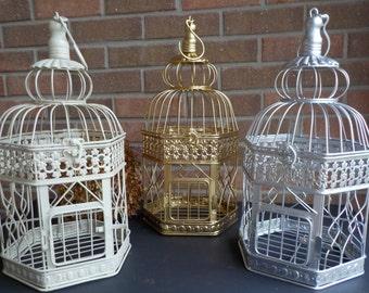 Bird Cage Wedding Card Holder, Ivory, Gold, Silver Birdcage, Hexagon Bird Cage Card Box, Shower Decor, Money Holder, Custom Colors