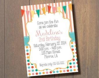 Girl Dot and Stripe Birthday Invitation