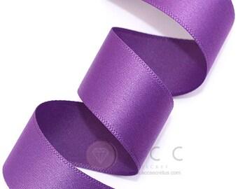 5Yards  Pansy Purple Single Faced Satin Ribbon - 10mm(3/8''), 15mm(5/8''), 25mm(1''), and 40mm(1 1/2'') - Semi Gloss Flat Satin