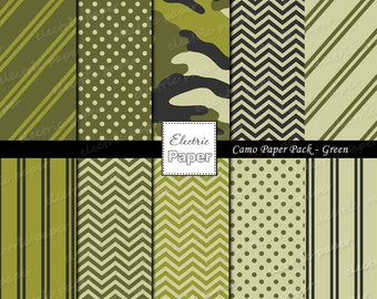 Green Camo Paper Pack - Camouflage and Coordinating Prints Printable Paper - Instant download - Green