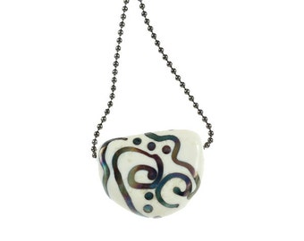 RESERVED - Raku Tab Necklace - Lampwork Glass Pendant and Ball Chain Necklace