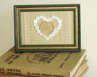 Rustic Romance Wall Art, Vintage Button Heart, Lace and Crochet