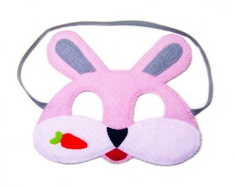 Bunny Felt Mask for kids Pink childrens animal costume boys girls soft Dress Up play accessory Theatre roleplay