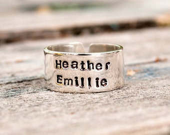 Two Name Personalized Stacked Name Ring.  Sterling Silver Cuff Ring.
