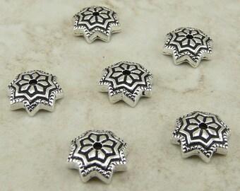 6 Tierra Cast 8mm Ornate Talavera Star Bead Caps - Silver Plated Lead Free Pewter - I ship Internationally 5751