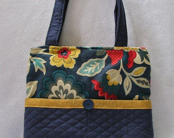 Tote Bag Purse Navy Purse Modern Floral
