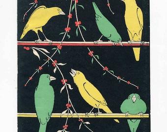 Antique 1920 Vintage End Page Illustration, Bookplate  Print, Song Birds on Perches, Black Background Print, Art Deco Design