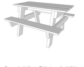 Small Childs Picnic Table     - PDF File - Woodworking Plans - Blueprints