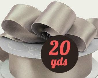 """Satin Silver Gray  Ribbon - 7/8"""" wide at 20 yards"""