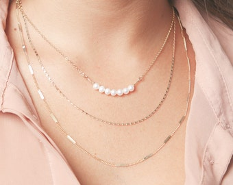 Gold layered necklace set Pearl Bar And Dainty Chain Necklaces Delicate Bead Layering gold filled necklace blush wedding jewelry.