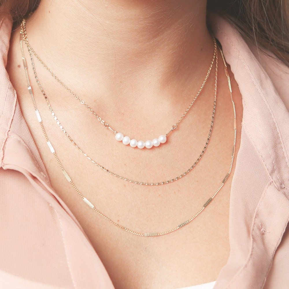 Gold layered necklace set Pearl Bar And Dainty Chain Necklaces