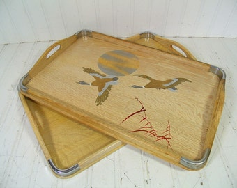 Wooden Serving Trays Set of 2 Vintage Hand Painted Two Handled Matching Pair Mid Century Blond Wood Center Piece Boards - Made in Japan
