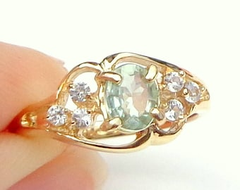 Size 7, Natural Alexandrite, Solid 14K Yellow Gold, White Sapphire Accents, June Birthstone, Rare Color Change Gemstone