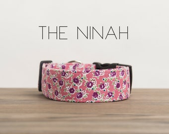 "Girly Vintage Inspired Pink & Purple Dog Collar ""The Ninah"""