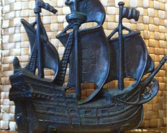 c1910 King Mfg Corp Bronze Doorstop Columbus' Ship Santa Maria