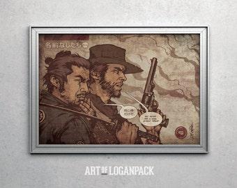 No Names - Eastwood & Mifune - Original Art Poster